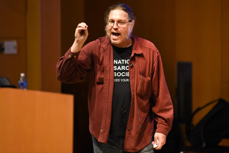 Prof. Todd Walter, biological and environmental engineering, argues in favor of preserving hydrology at the Apocalypse Debate at Klarman Hall on November 5th, 2019. (Boris Tsang/Sun Photography Editor)