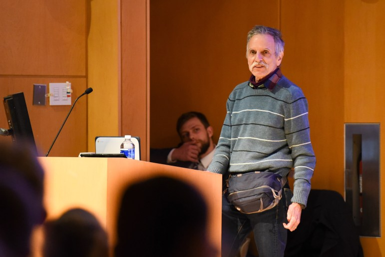 Prof. Harold Hodes, philosophy, argues in favor of preserving philosophy at the Apocalypse Debate at Klarman Hall on November 5th, 2019. (Boris Tsang/Sun Photography Editor)