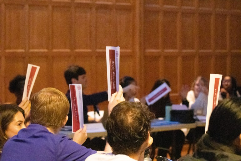 Student Assembly Meeting at Willard Straight Hall Memorial Room on Oct 31, 2019.