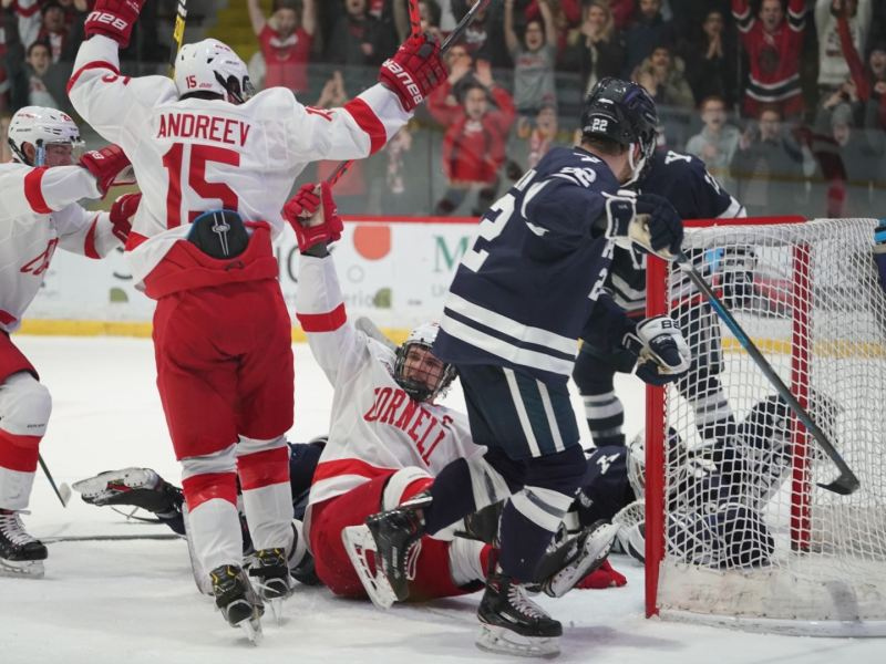 Junior Morgan Barron and sophomore Max Andreev celebrate after Barron's second goal of Saturday's game. Barron had a hat trick in Cornell's win over Yale.