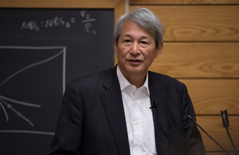 Takashi Shiraishi Ph.D. '66, chancellor of Kumamoto Prefecture University, dissected Japan's foreign policy and its role in global politics in a talk on Monday. (Daniel Ra/Sun Staff Photographer)