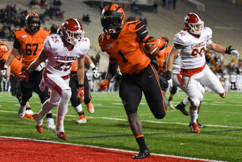 The Princeton rushing offense totaled 167 yards on the ground.