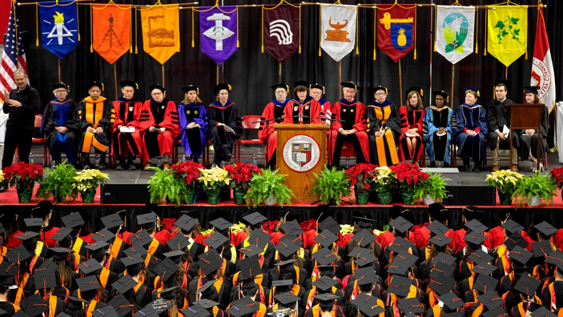 President Martha Pollack addresses December graduates in 2018.