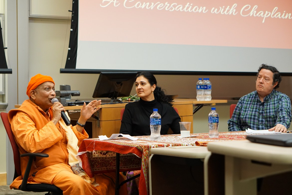 Yale Hindu chaplain, Dr. Asha Shipman, Brown's chaplain, Swami Yogatmananda, and Prof. Larry McCrae speak at Practicing Hinduism at Cornell: A Conversation with Chaplains on April 18, 2019.