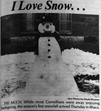 While most Cornellians were away enjoying Thanksgiving break, the season's first snowfall in 1958 hindered many students on their return to campus.