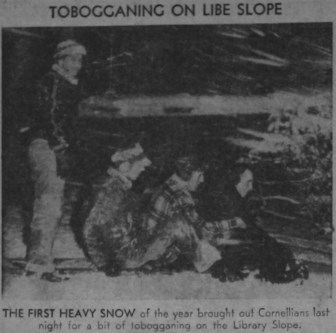 Cornellians venture out for a night of tobogganing on Libe Slope in celebration of Cornell's first ever snow day in March 1971.
