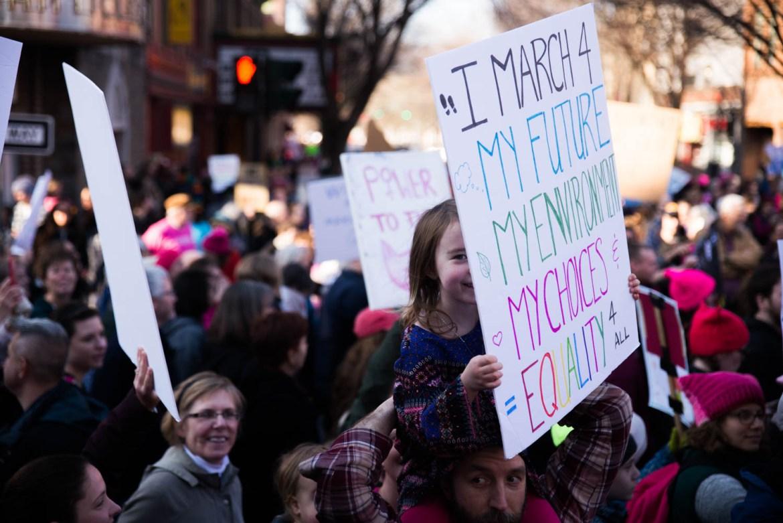 Women's March in Ithaca in January 2017.
