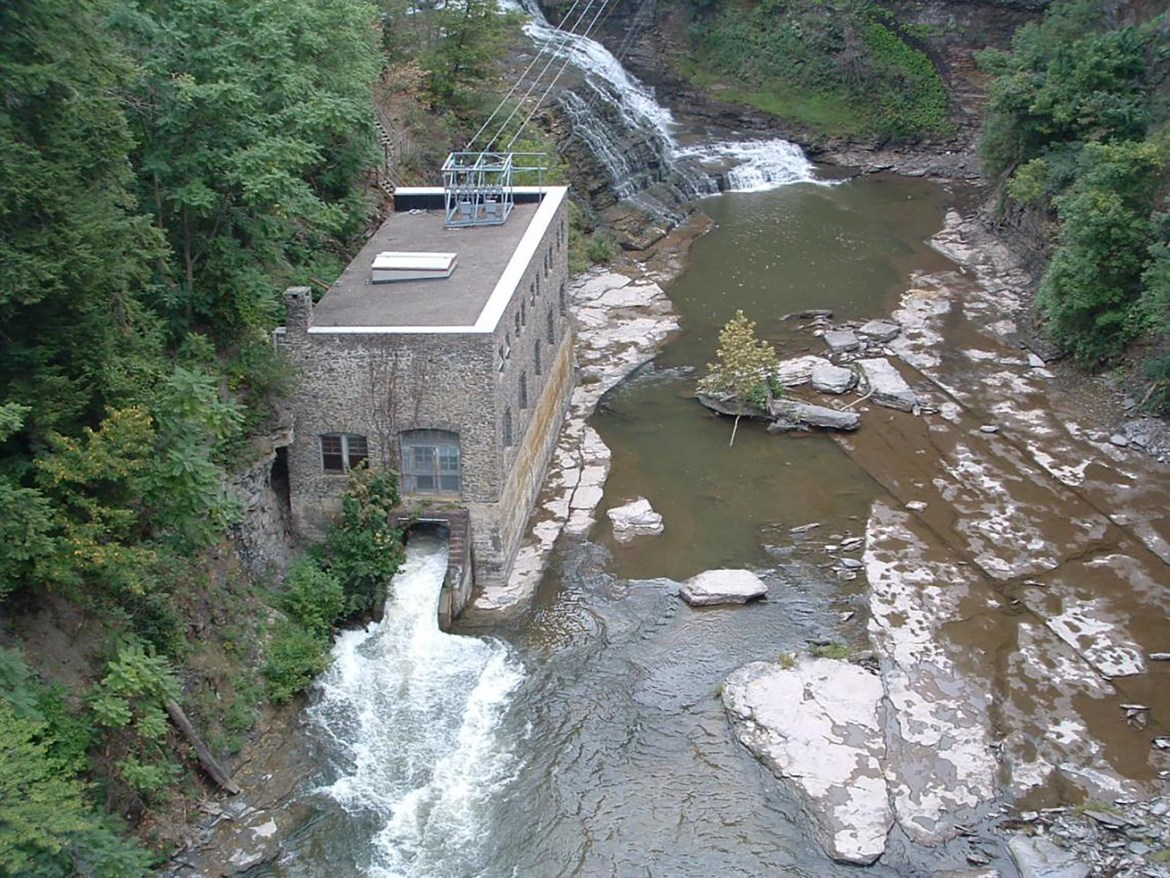 Cornell's hydroelectric dam in Fall Creek, the only hydroelectric dam on the main campus of any U.S. university.
