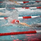 Cornell Women's Swimming meet at Teagle Pool in January 2020.
