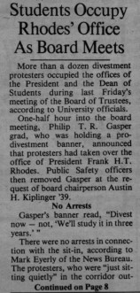 A March 14, 1986 Sun article describes students storming former President Rhodes' office to protest the University's ties to South Africa during apartheid.