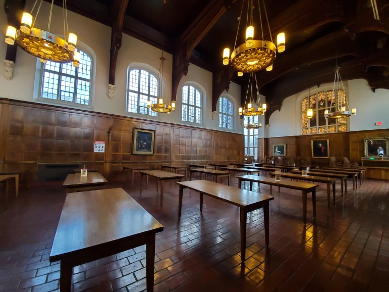 Risley, and other dining halls on campus, were empty after all dining halls became take-out only.