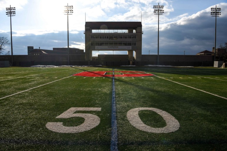 Schoellkopf Field stood empty on Tuesday. In response to the COVID-19 outbreak, the Ivy League canceled all spring athletic events on March 11. (Boris Tsang/Sun Photography Editor)