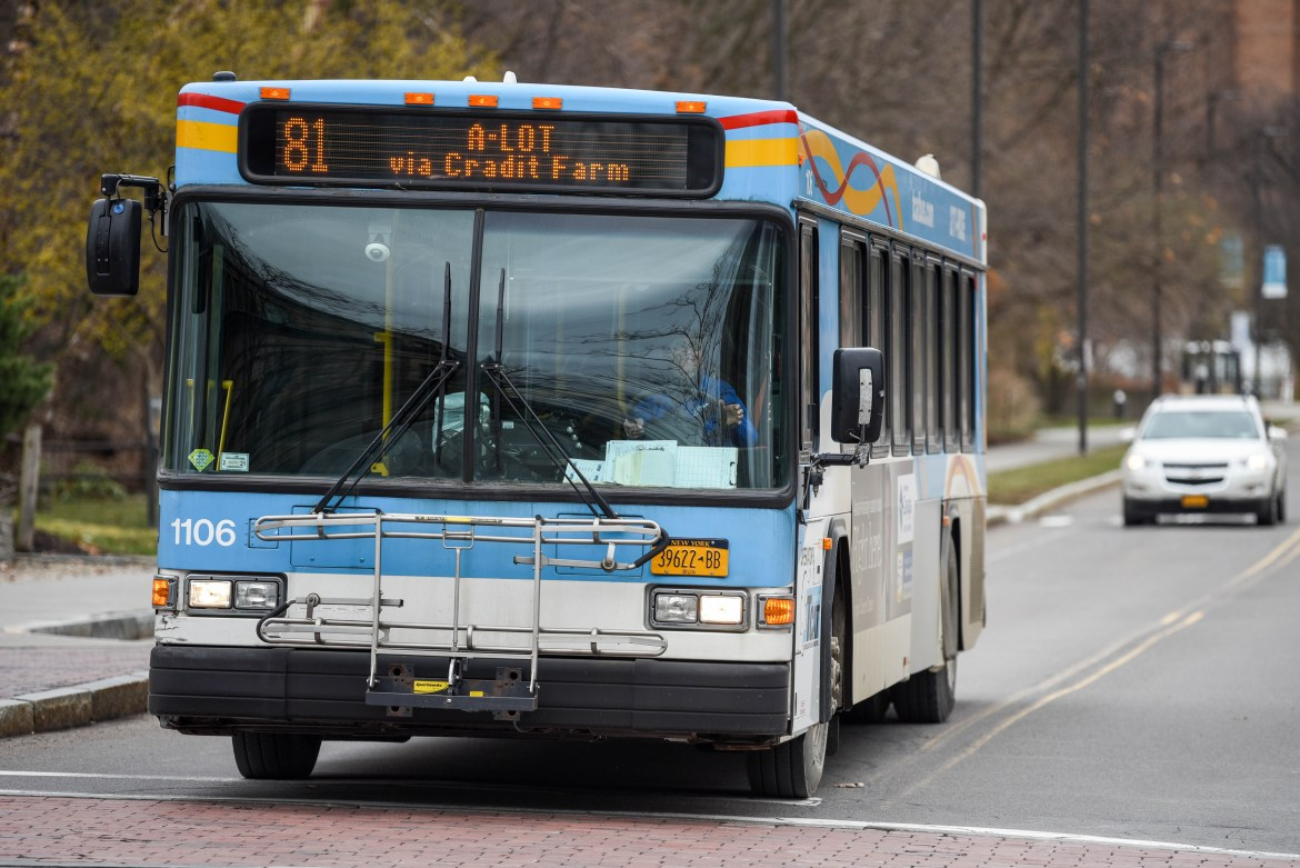 A TCAT bus leaves the Uris Hall bus stop on March 19, 2020. TCAT announced on Thursday that they will temporarily waive fares and limit bus capacity in the light of the COVID-19 outbreak.