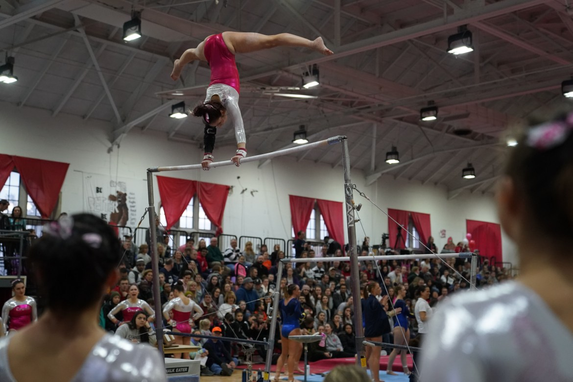 The gymnast's individual scores soared, but not high enough to place well for the team.