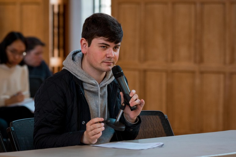 Student Assembly president Joesph Anderson '20 speaks at the S.A. meeting on Thursday. (Hannah Rosenberg/Sun Assistant Photography Editor)