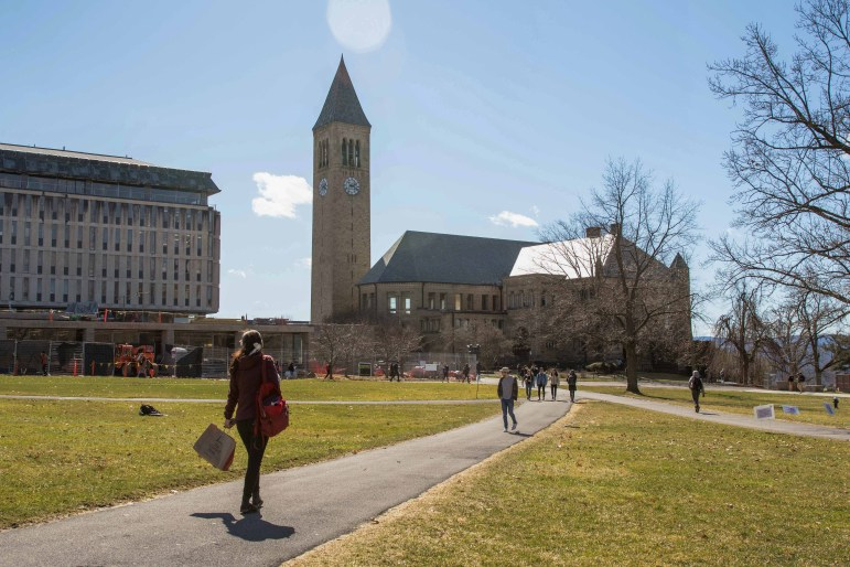 On Friday when students learned that the University would suspend classes until after spring break, Cornellians enjoyed the warm weather, despite the pressing news. (Hannah Rosenberg/Sun Assistant Photography Editor)