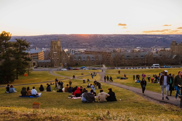 """On March 13, shortly after President Martha E. Pollack's announcement to cancel all classes until Spring Break, students took to the slope to enjoy a """"Slope Day"""" of their own."""