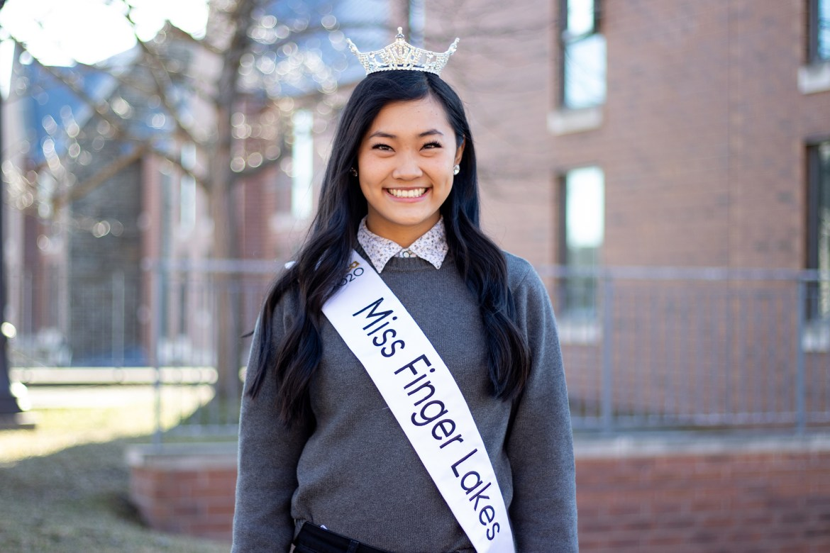 Sarah Sun '23 won the Miss Finger Lakes Scholarship Organization in January, a preliminary event to the Miss New York State and Miss America pageants. Sun has been competing in pageant scholarship programs since high school, and she has continued these competitions as a Cornell student.