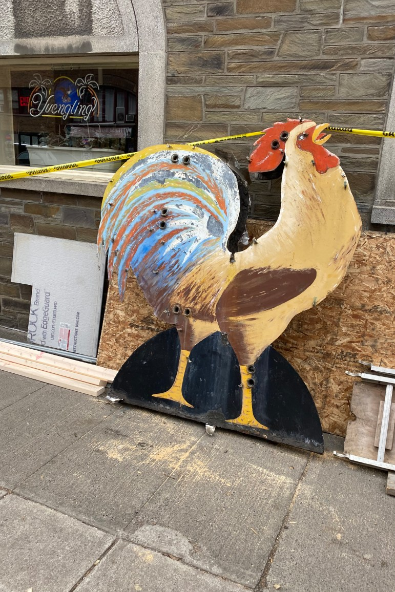 The infamous rooster usually perched atop The Chanticleer, a downtown bar, needed more repairs than originally anticipated.