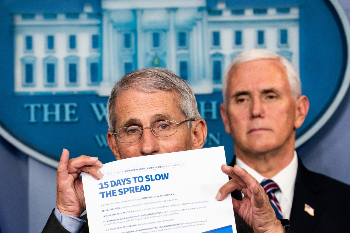 Dr. Anthony Fauci, director of NIAID, at a White House news conference presenting guidelines for how to slow the spread of COVID-19.