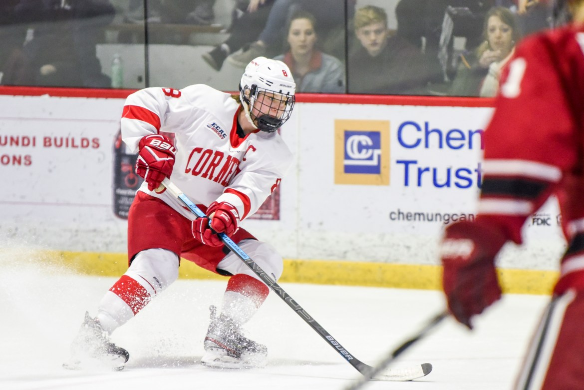 Senior defender Micah Zandee-Hart at the ECAC semifinals against Harvard on March 7, 2020. Zandee-Hart is one of many Cornell athletes whose collegiate athletic career was cut short by the COVID-19 pandemic.