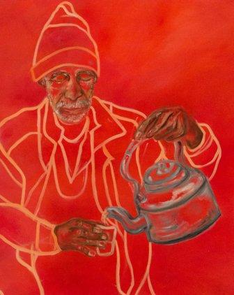 "Aiza Ahmed, ""Chai-wala (Tea seller),"" 24x40"" oil on canvas."