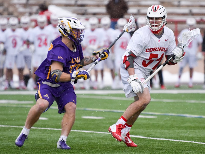 Senior attackman Jeff Teat, pictured, was named a Second-Team All-American on Wednesday.