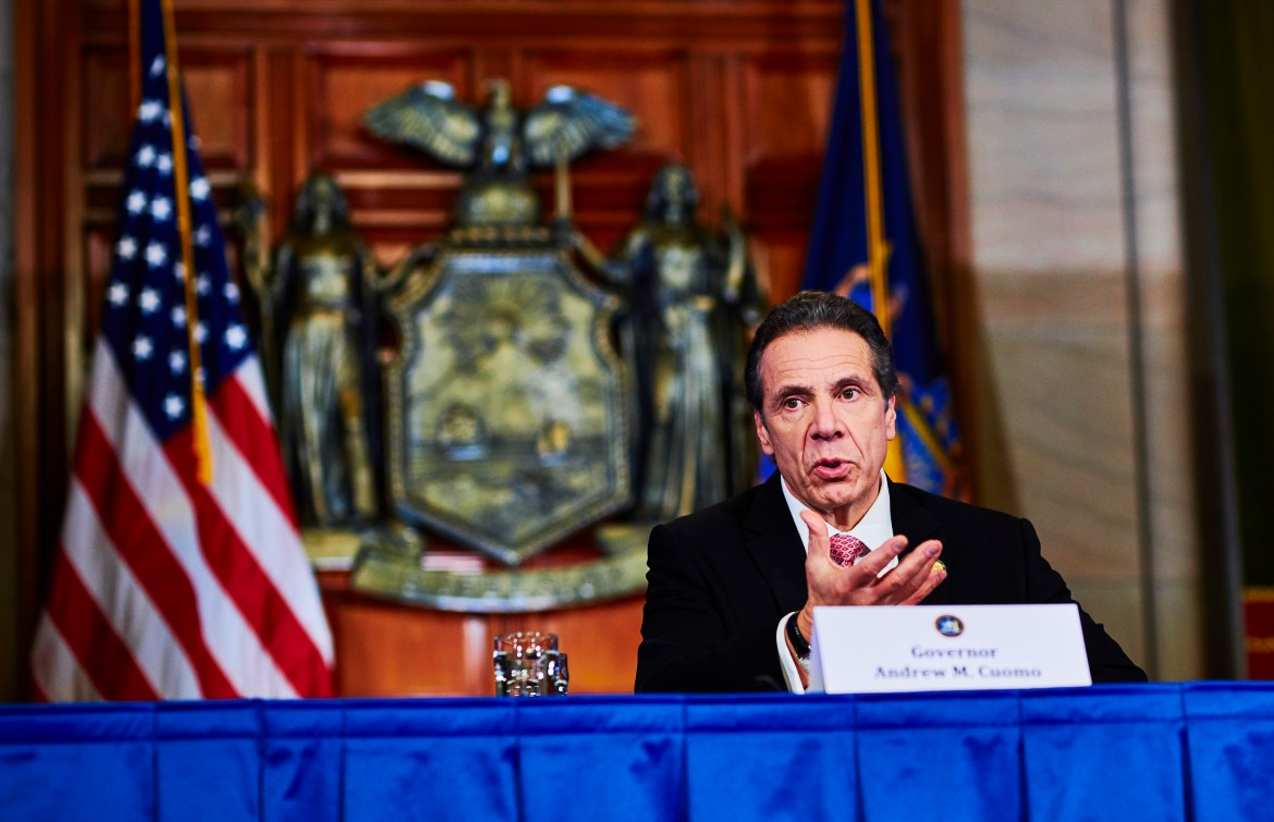 Gov. Andrew Cuomo addresses reporters at a daily Albany press conference.
