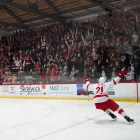 Freshman Zach Tupker celebrates a third-period goal against Yale on Nov. 9. It was Tupker's first NCAA goal.