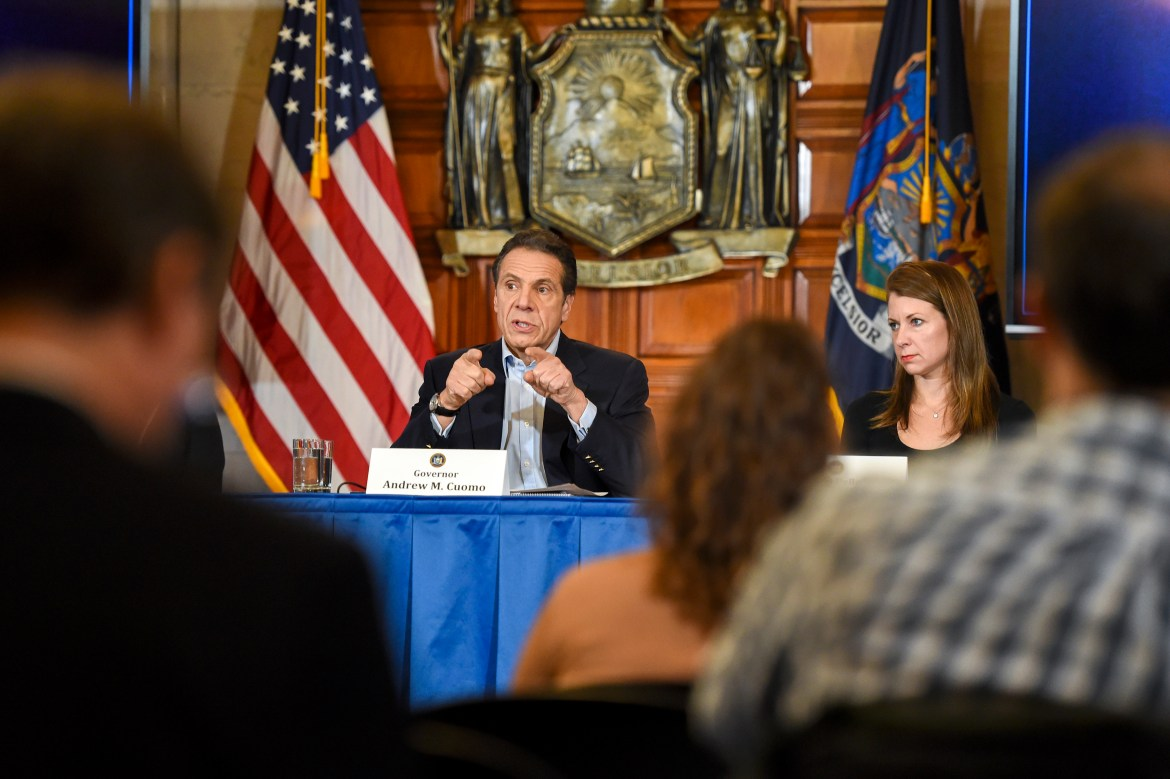 Gov. Andrew Cuomo (D-N.Y.), pictured in an April press conference, outlined a reopening plan set to occur in phases. Tompkins County, a lower risk region in the Southern Tier, would be one of the first to reopen, but will not until all CDC guidelines are met.