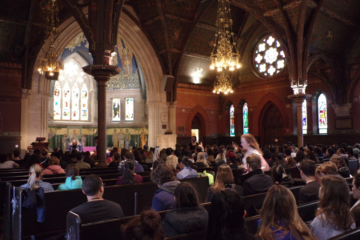 Students gather in Sage Chapel in March 2017. Cornellians found virtual alternatives during this year's Holy Week and Easter.