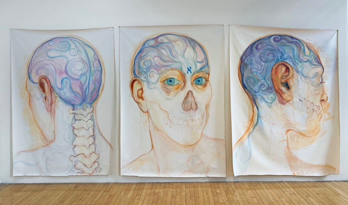 Lucy Plowe (BFA '20) is a painter and sculptor who draws from cross-cultural mythologies, the subconscious and the earth in constructing her narrative-driven pieces. Her relationship to materiality is evident in her dream-like paintings and clay masks.