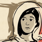 Kanizan Bib pictured in a drawing from a video made by the New Media Advocacy Project and Justice Project Pakistan.