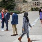 Students take portraits on Ho Plaza after announcement of classes being moved to online due to COVID-19.
