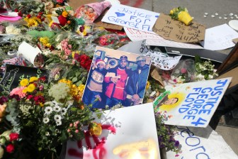 A makeshift memorial to George Floyd in Minneapolis on May 28, near where Floyd was taken into police custody.