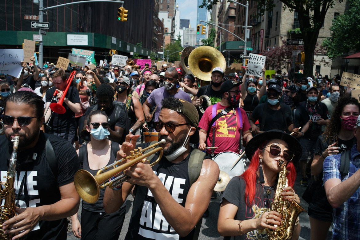 Protestors marching in Manhattan on Saturday, June 6.