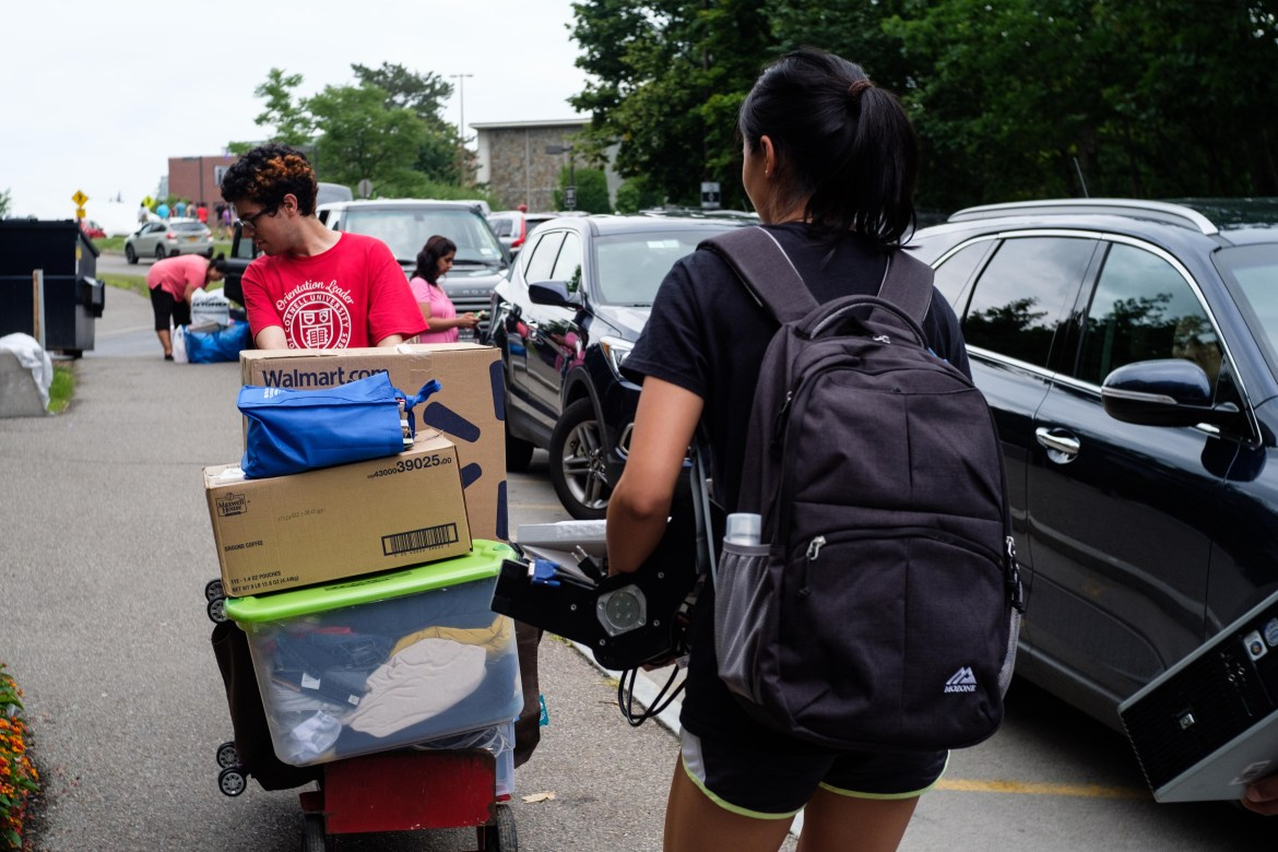 "Incoming students move into North Campus dorms in August 2019. While many Cornellians expressed excitement over the end of ""Zoom University,"" others feel a semester of social distancing regulations and campus restrictions just isn't worth it."