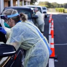 A drive-through coronavirus testing site in The Villages, Fla., on July 16. Across the country, spikes in new COVID-19 cases have been common as states move to reopen.