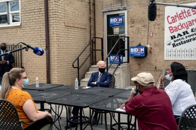 Former Vice President Joe Biden, the presumptive Democratic presidential nominee, meets with small business owners in Yeadon, Pa., on June 17, 2020. The president's support among bedrock Republicans is almost certainly not enough to win him a second term in the White House, as even some GOP leaders concede.