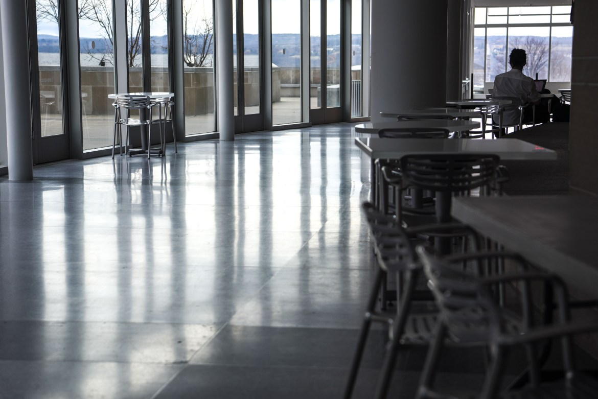 The Physical Science Building, which remained nearly empty, in late March, following the announcement that most on-campus activities would be suspended.