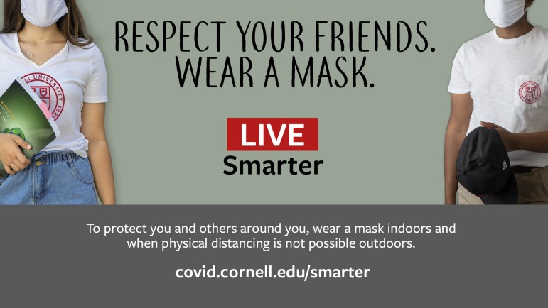 Another sign encourages students to wear a mask.