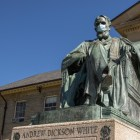 The A.D. White statue is clad with a mask on a noticeably-emptier central campus.