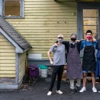 Left to right: Daniel, Noah, Darius and Bobby. The four juniors working together to open a popup restaurant, 2 Stay 2 Go, in collegetown. (Ben Parker/Sun Assistant Photography Editor)