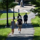 Students mask up as they walk around campus, but many of them aren't heading into classrooms this fall.