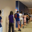 Students line up at Robert Purcell Community Center on North Campus for COVID-19 testing on September 3.