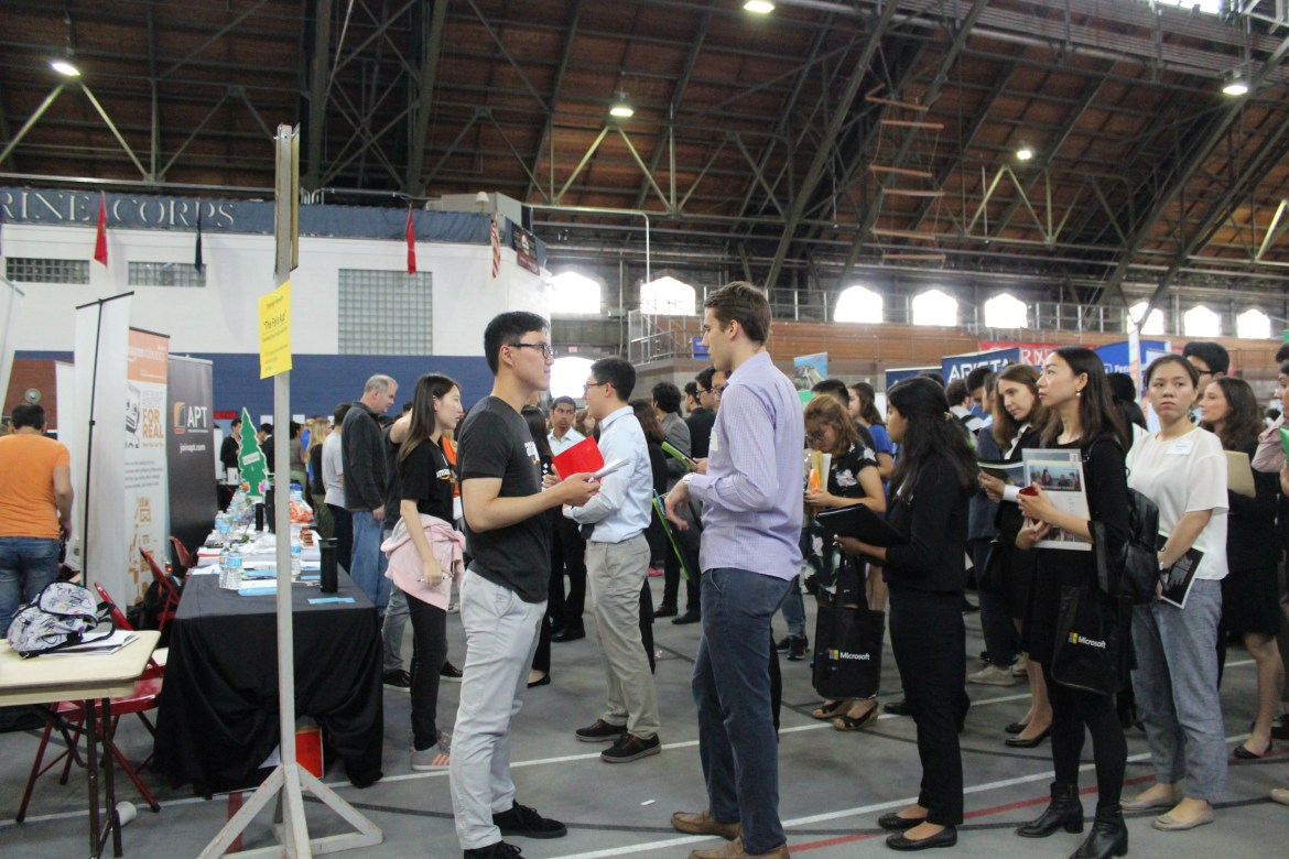 Students connected with recruiters in Barton Hall during Cornell's fall career fair in past years. But this year's virtual event didn't go as planned.