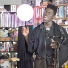Moses Sumney performs a Tiny Desk Concert on Oct. 13, 2017 (Jennifer Kerrigan/NPR)