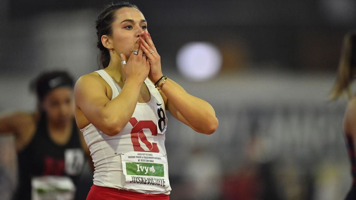 While Juškevičiūtė got her start in the heptathlon, she also began competing in the pentathlon at Cornell, and she took home first place in the pentathlon at the 2020 Ivy League Indoor Heps  Championships.