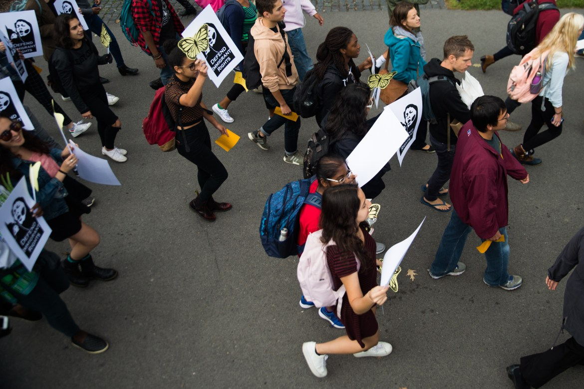 Students and community march at a Cornell DREAM Team protest in 2017. For years, the DREAM Team has pushed for greater institutional support for undocumented and DACA students.