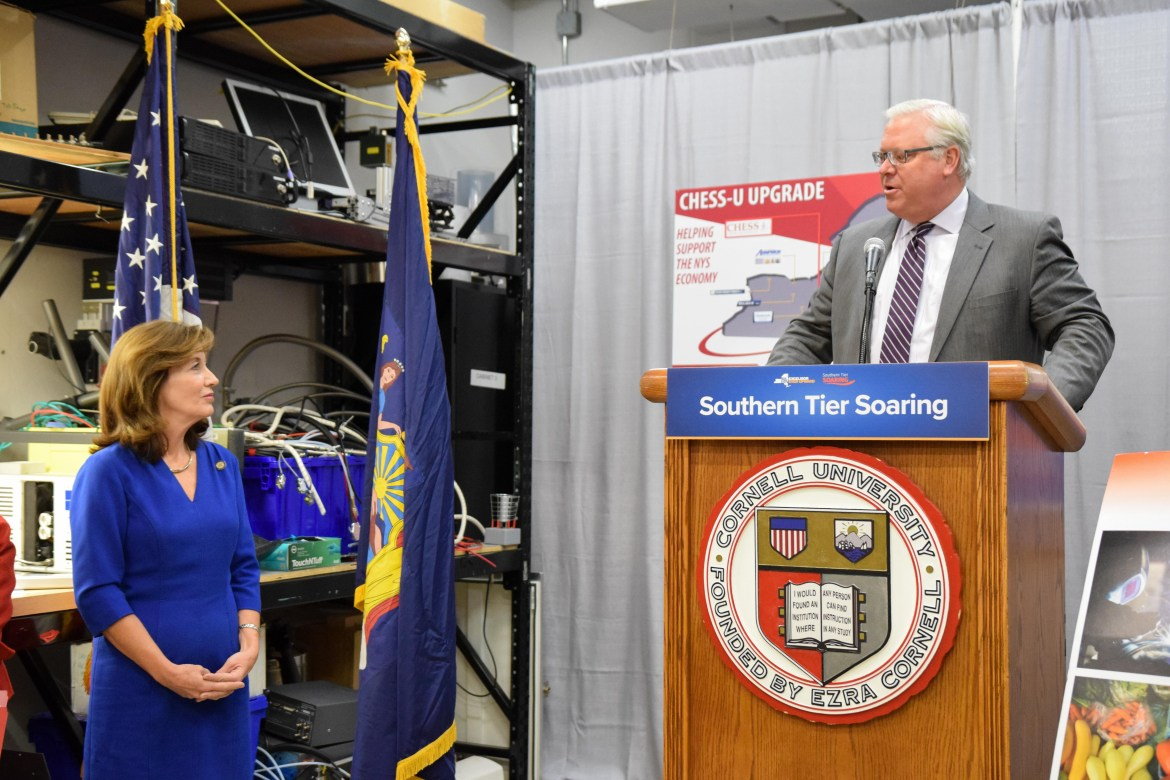 New York State Senator Tom O'Mara speaks at the announcement at the Cornell High Energy Synchrotron Source in November 2017.